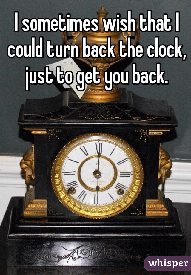 I sometimes wish that I could turn back the clock, just to get you back.