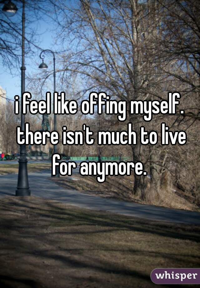 i feel like offing myself. there isn't much to live for anymore.
