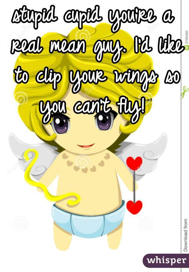 stupid cupid you're a real mean guy. I'd like to clip your wings so you can't fly!