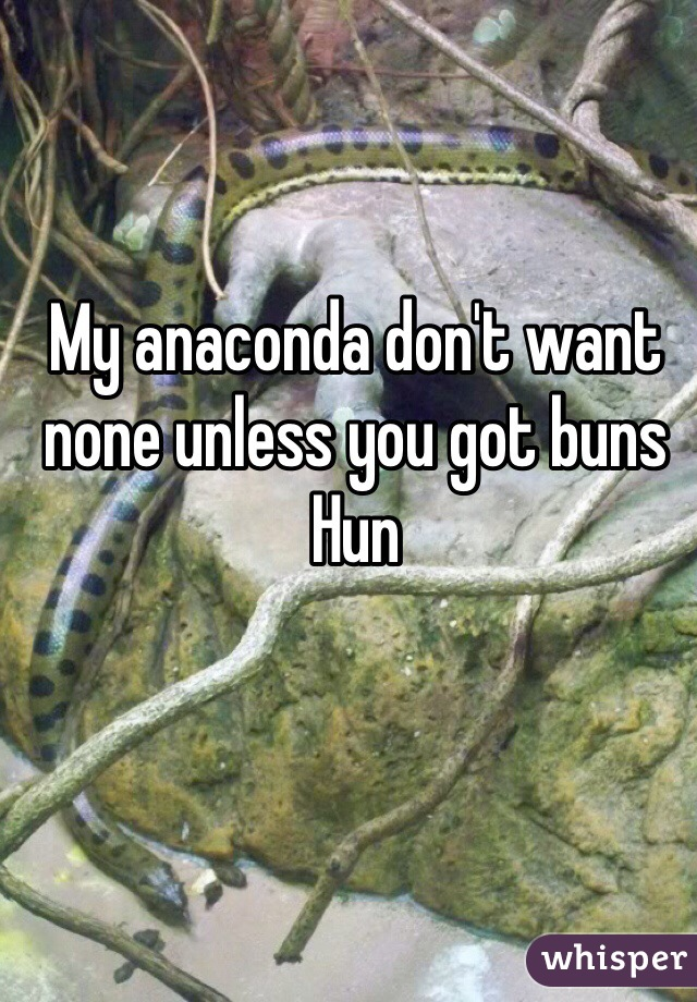 My anaconda don't want none unless you got buns Hun
