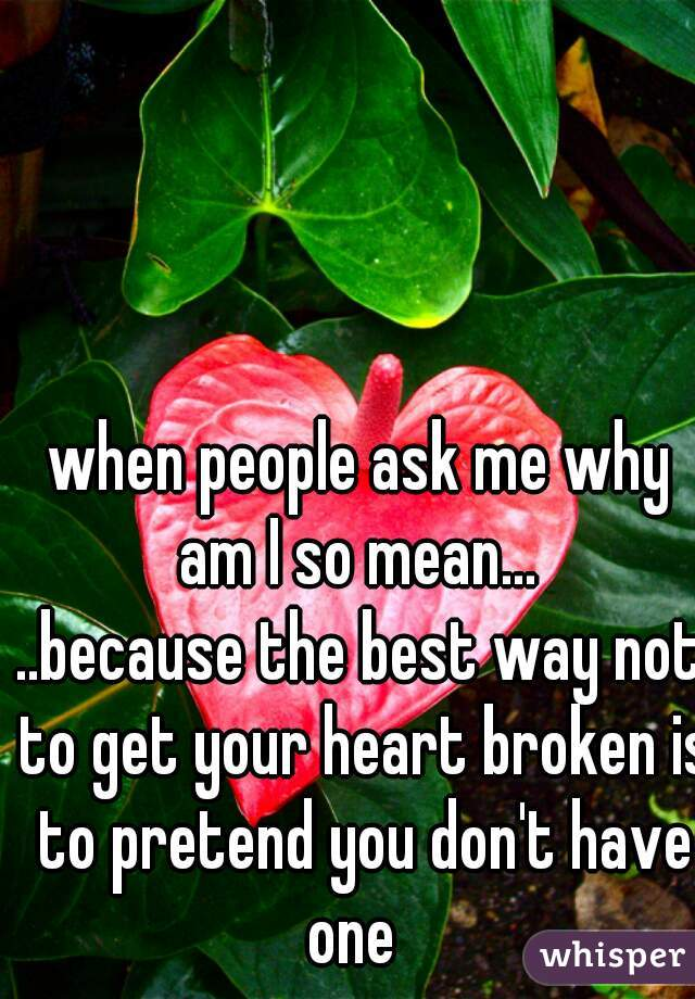 when people ask me why am I so mean...  ..because the best way not to get your heart broken is to pretend you don't have one