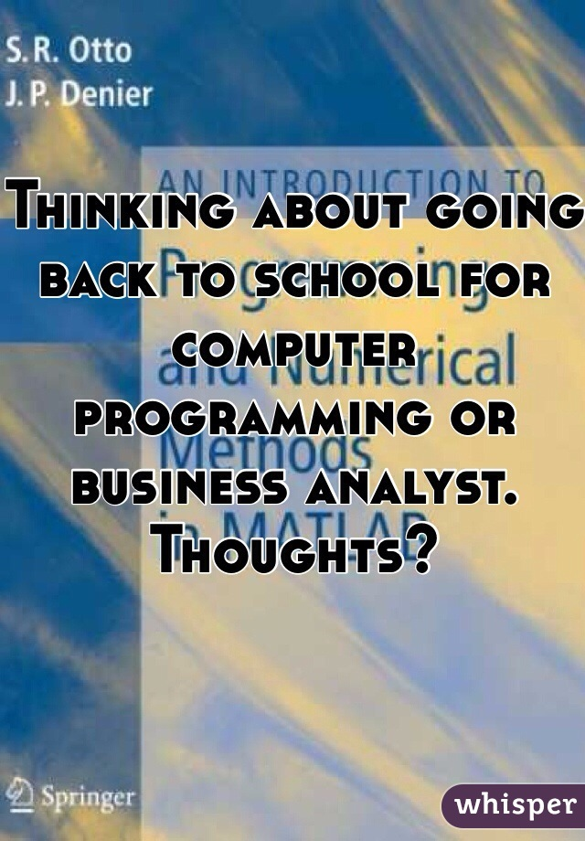 Thinking about going back to school for computer programming or business analyst. Thoughts?