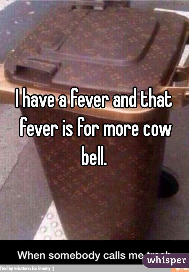 I have a fever and that fever is for more cow bell.
