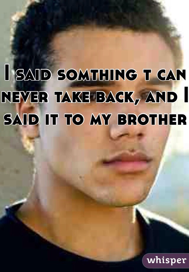 I said somthing t can never take back, and I said it to my brother