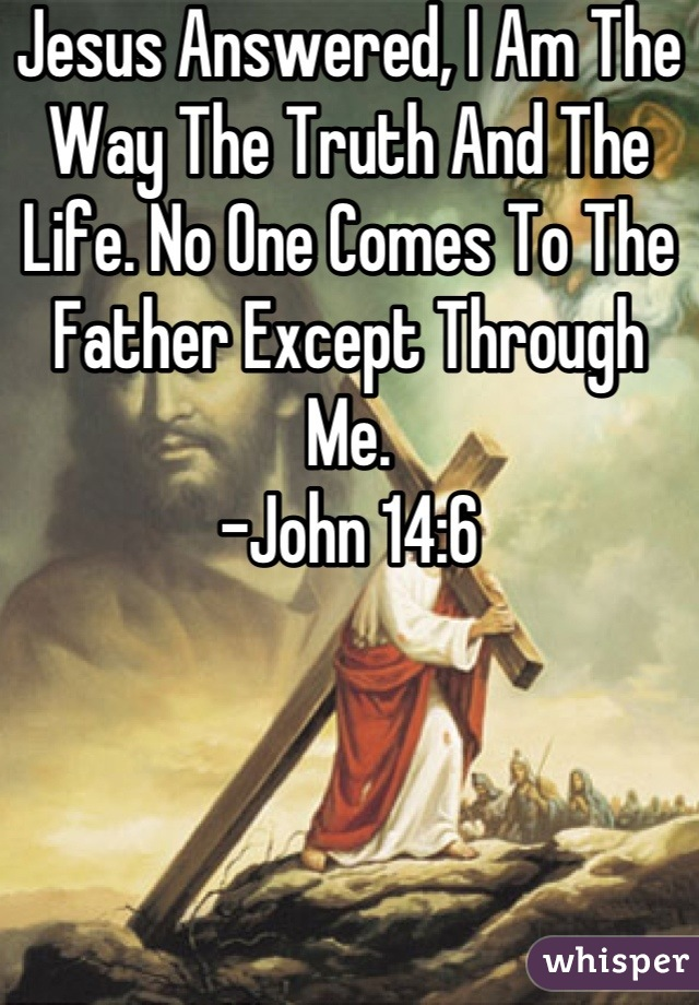 Jesus Answered, I Am The Way The Truth And The Life. No One Comes To The Father Except Through Me.  -John 14:6