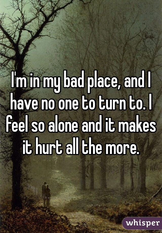 I'm in my bad place, and I have no one to turn to. I feel so alone and it makes it hurt all the more.