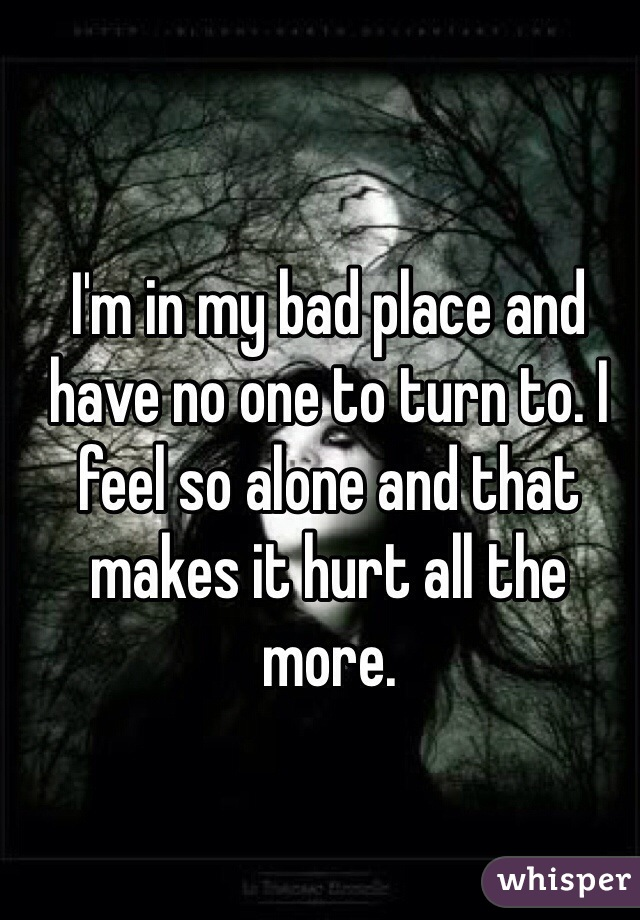 I'm in my bad place and have no one to turn to. I feel so alone and that makes it hurt all the more.