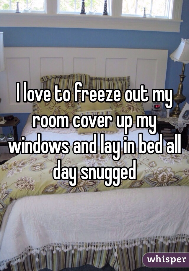 I love to freeze out my room cover up my windows and lay in bed all day snugged