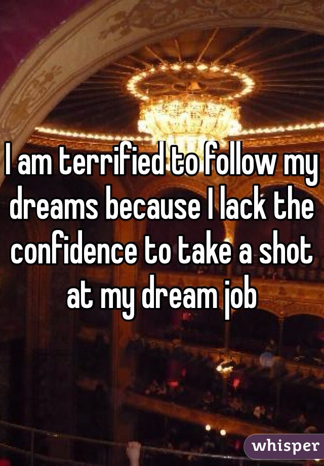 I am terrified to follow my dreams because I lack the confidence to take a shot at my dream job