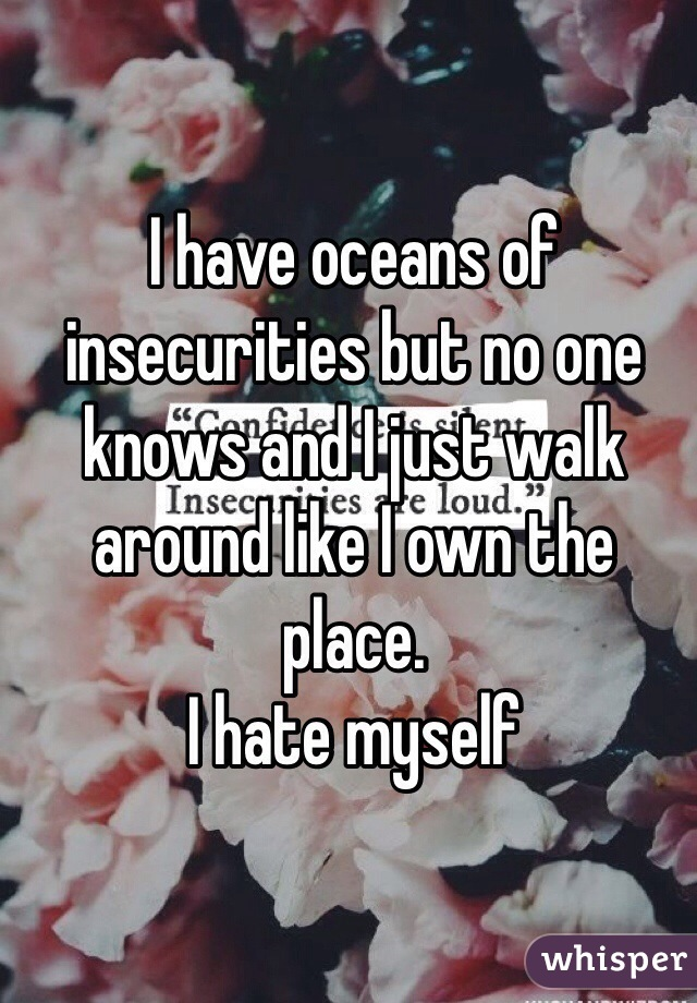 I have oceans of insecurities but no one knows and I just walk around like I own the place.  I hate myself