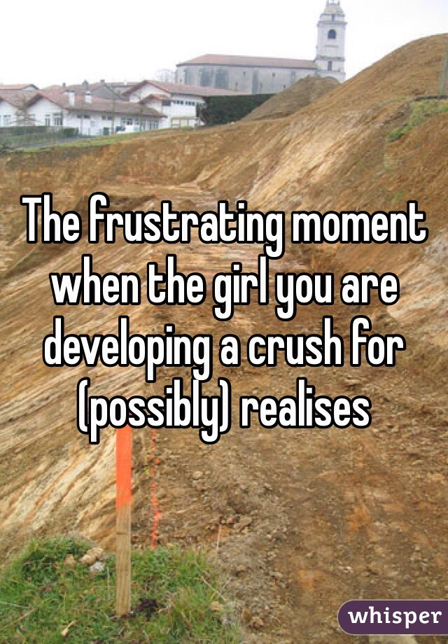 The frustrating moment when the girl you are developing a crush for (possibly) realises