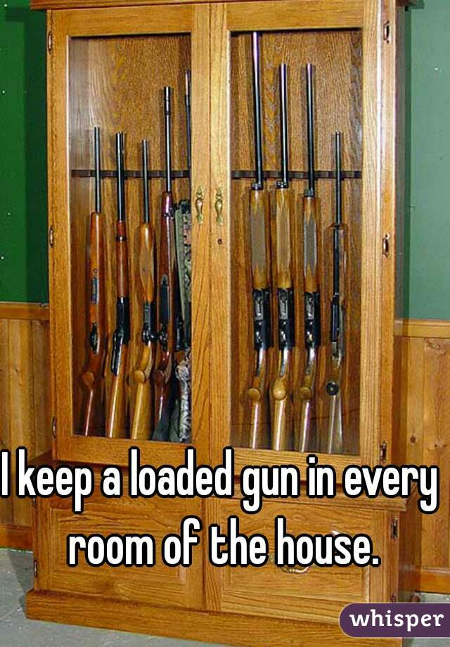 I keep a loaded gun in every room of the house.