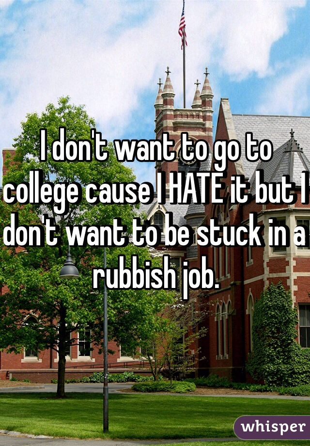 I don't want to go to college cause I HATE it but I don't want to be stuck in a rubbish job.