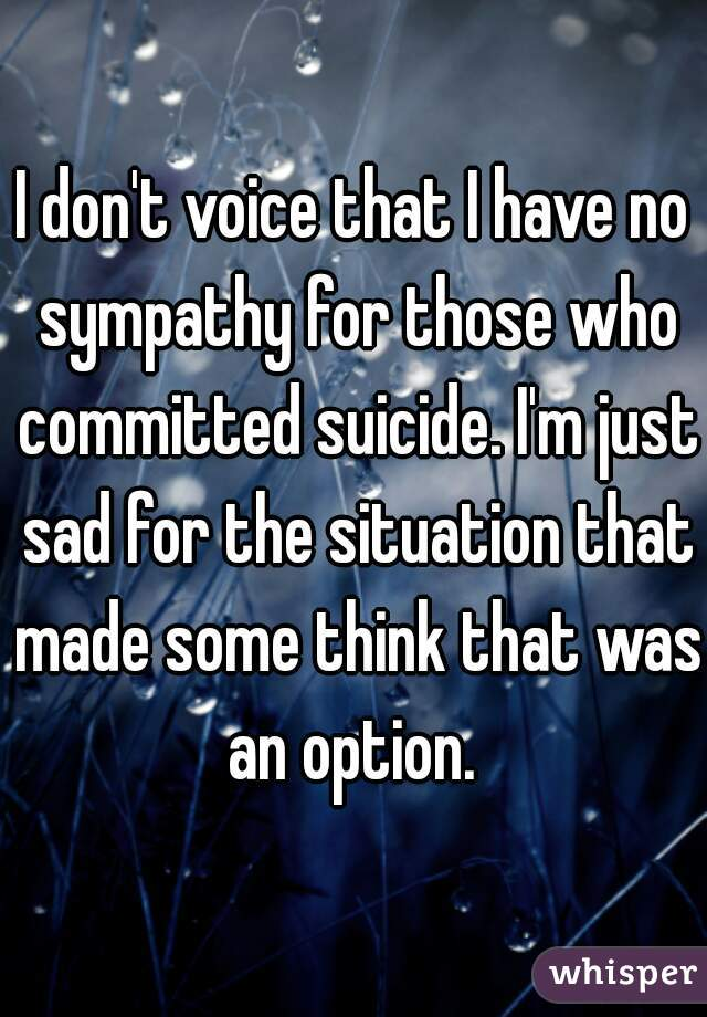 I don't voice that I have no sympathy for those who committed suicide. I'm just sad for the situation that made some think that was an option.