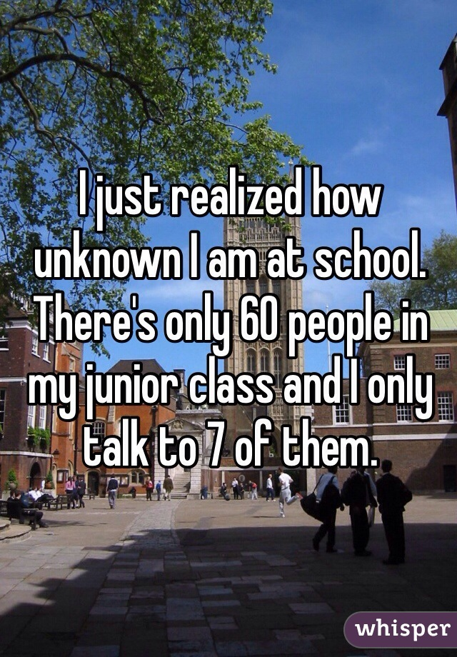 I just realized how unknown I am at school. There's only 60 people in my junior class and I only talk to 7 of them.
