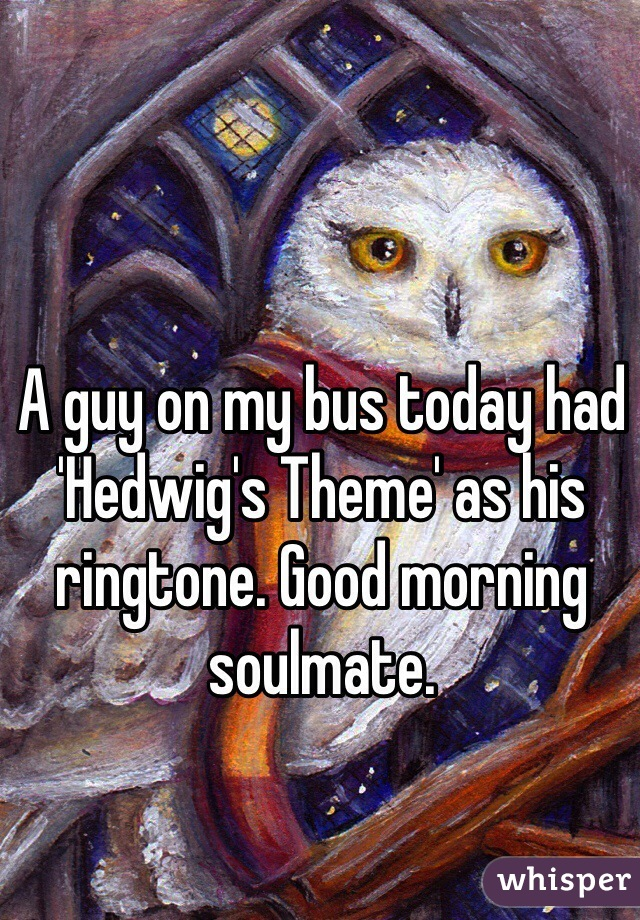 A guy on my bus today had 'Hedwig's Theme' as his ringtone. Good morning soulmate.
