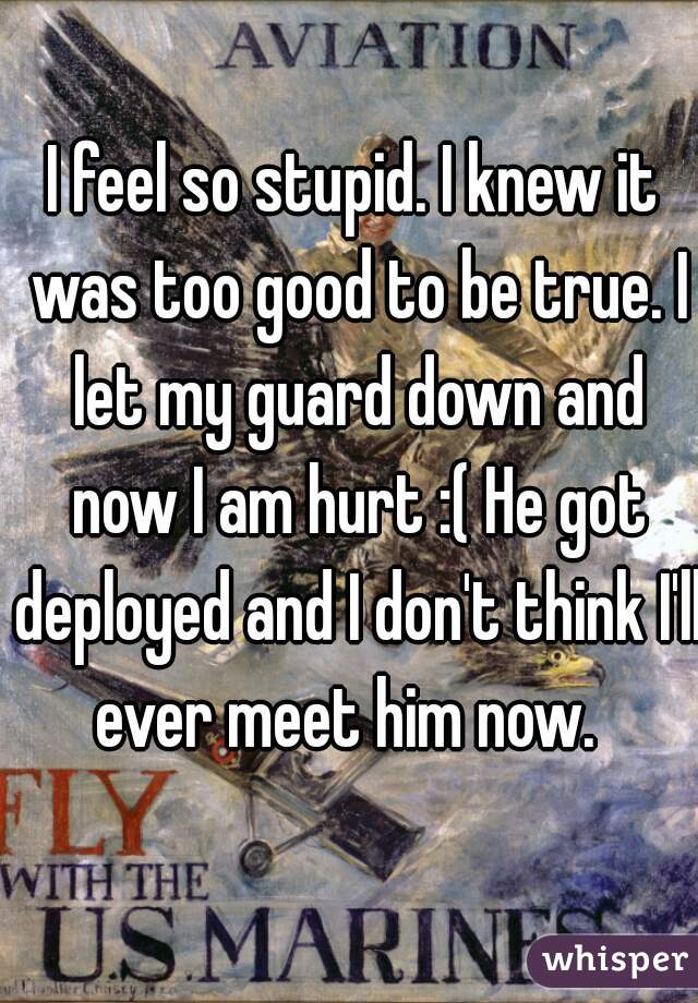 I feel so stupid. I knew it was too good to be true. I let my guard down and now I am hurt :( He got deployed and I don't think I'll ever meet him now.