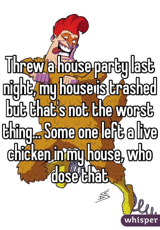 Threw a house party last night, my house is trashed but that's not the worst thing... Some one left a live chicken in my house, who dose that