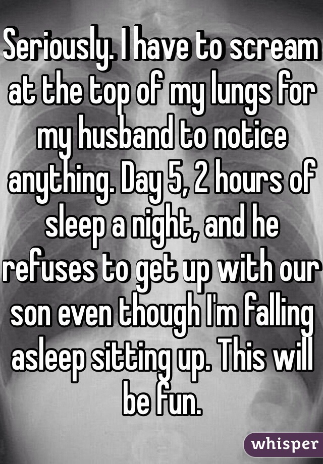 Seriously. I have to scream at the top of my lungs for my husband to notice anything. Day 5, 2 hours of sleep a night, and he refuses to get up with our son even though I'm falling asleep sitting up. This will be fun.
