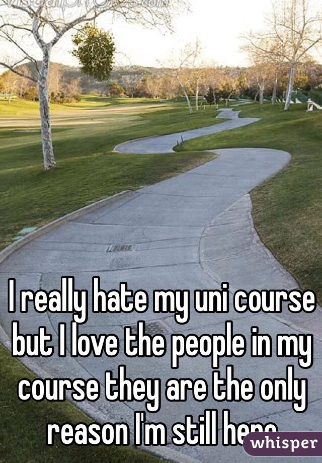 I really hate my uni course but I love the people in my course they are the only reason I'm still here