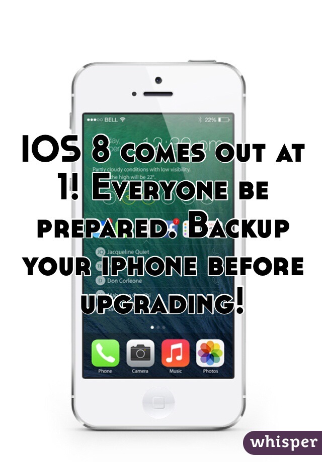IOS 8 comes out at 1! Everyone be prepared. Backup your iphone before upgrading!