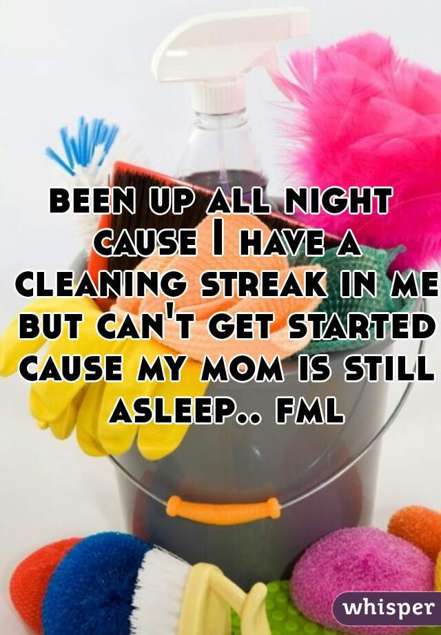 been up all night cause I have a cleaning streak in me but can't get started cause my mom is still asleep.. fml