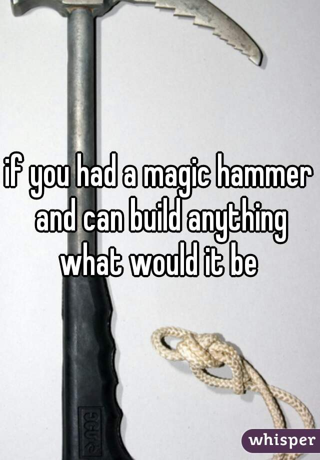 if you had a magic hammer and can build anything what would it be