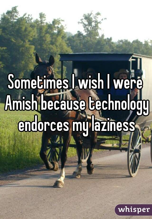 Sometimes I wish I were Amish because technology endorces my laziness