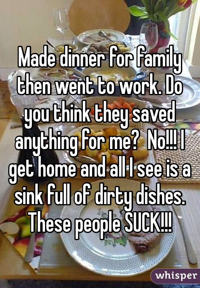 Made dinner for family then went to work. Do you think they saved anything for me?  No!!! I get home and all I see is a sink full of dirty dishes. These people SUCK!!!