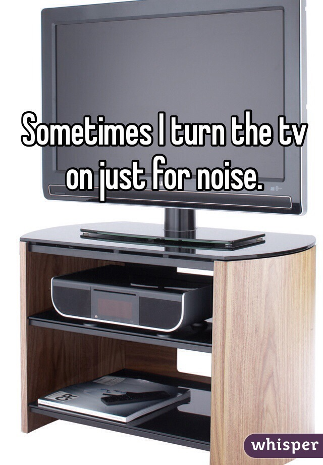 Sometimes I turn the tv on just for noise.