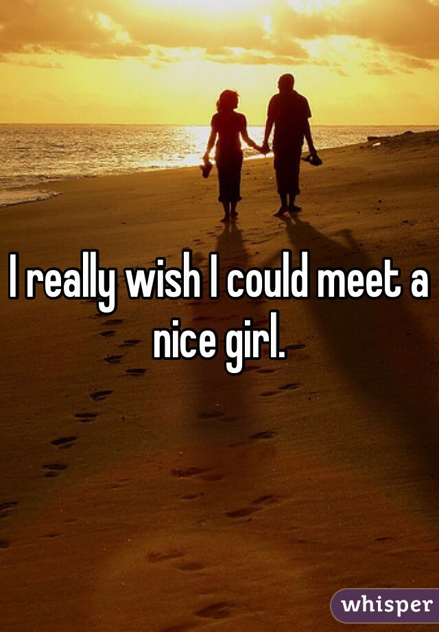 I really wish I could meet a nice girl.