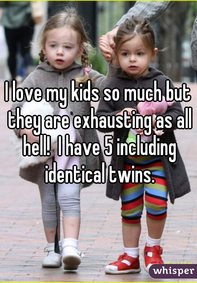 I love my kids so much but they are exhausting as all hell!  I have 5 including identical twins.