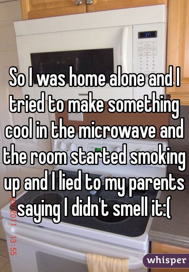 So I was home alone and I tried to make something cool in the microwave and the room started smoking up and I lied to my parents saying I didn't smell it:(
