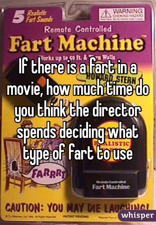 If there is a fart in a movie, how much time do you think the director spends deciding what type of fart to use