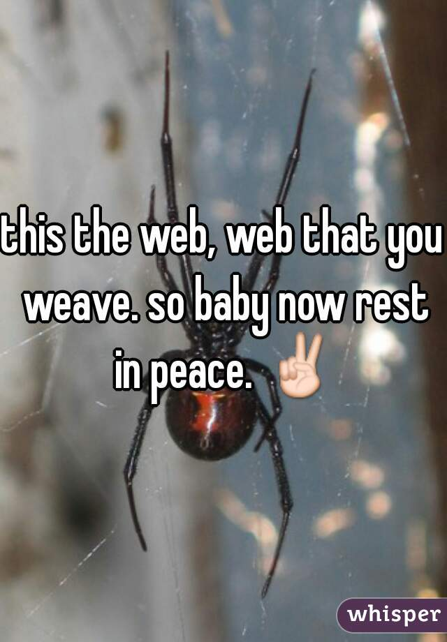 this the web, web that you weave. so baby now rest in peace. ✌
