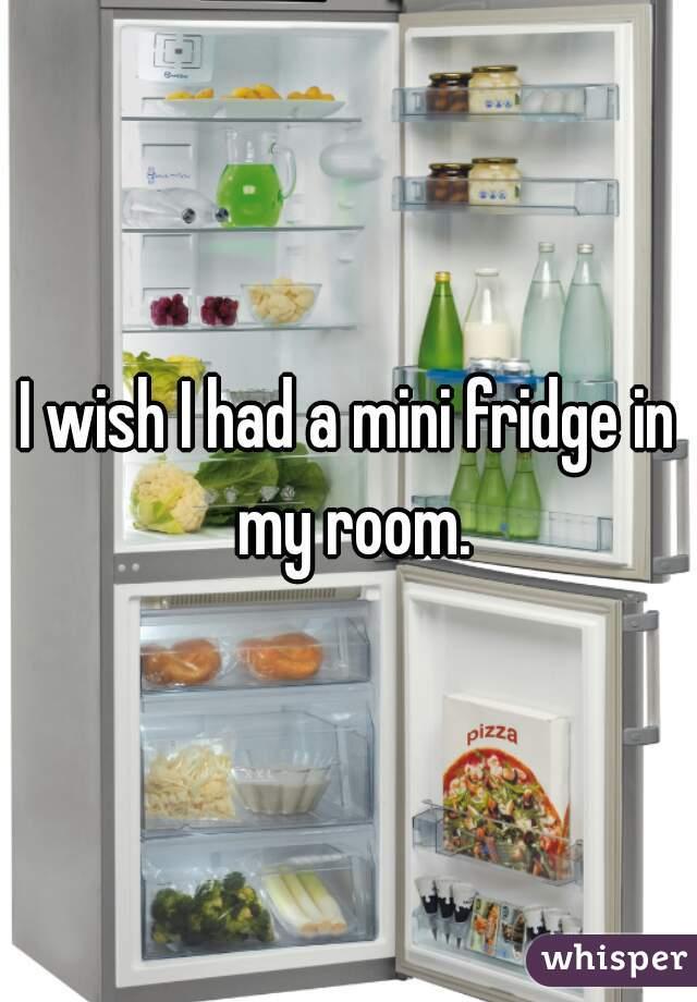 I wish I had a mini fridge in my room.
