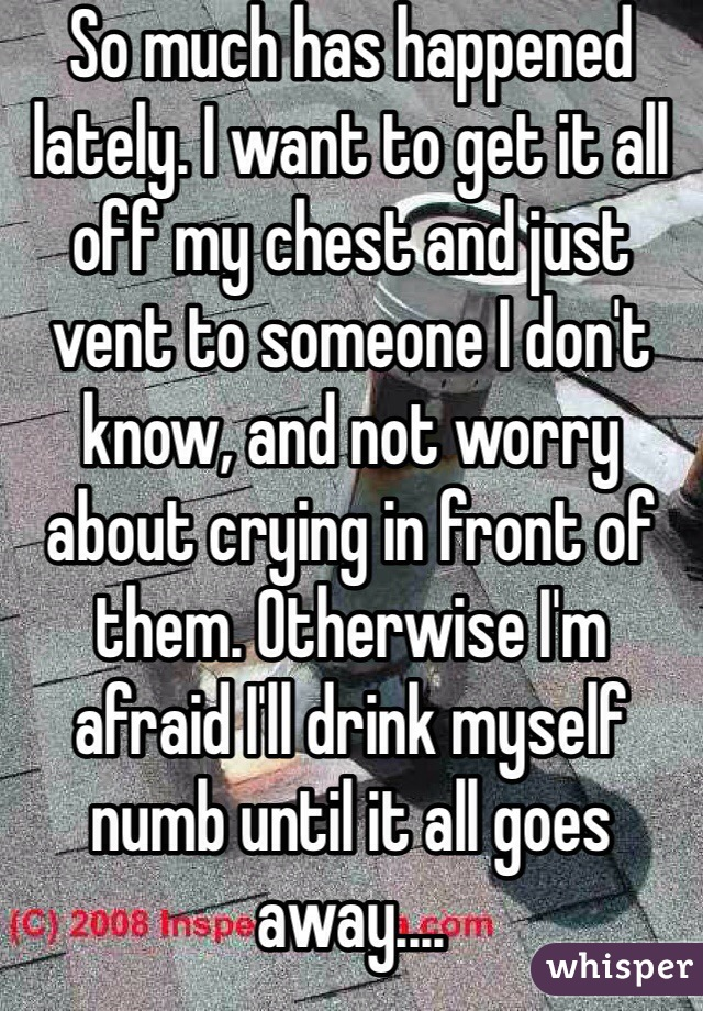 So much has happened lately. I want to get it all off my chest and just vent to someone I don't know, and not worry about crying in front of them. Otherwise I'm afraid I'll drink myself numb until it all goes away....