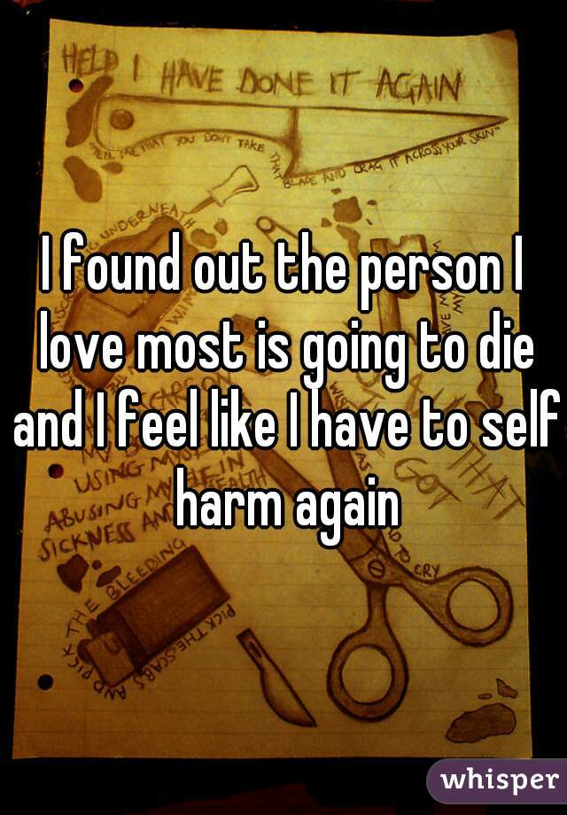 I found out the person I love most is going to die and I feel like I have to self harm again