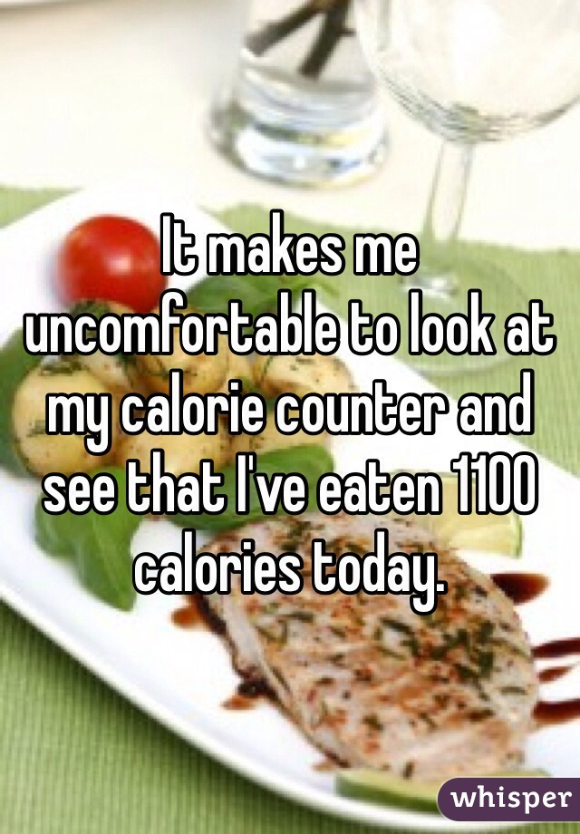 It makes me uncomfortable to look at my calorie counter and see that I've eaten 1100 calories today.