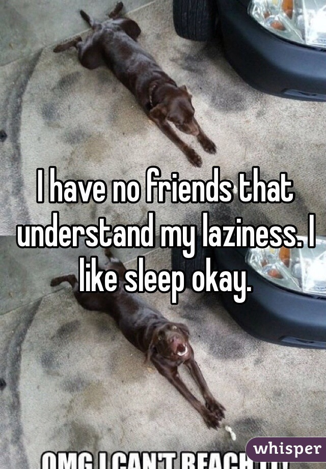 I have no friends that understand my laziness. I like sleep okay.