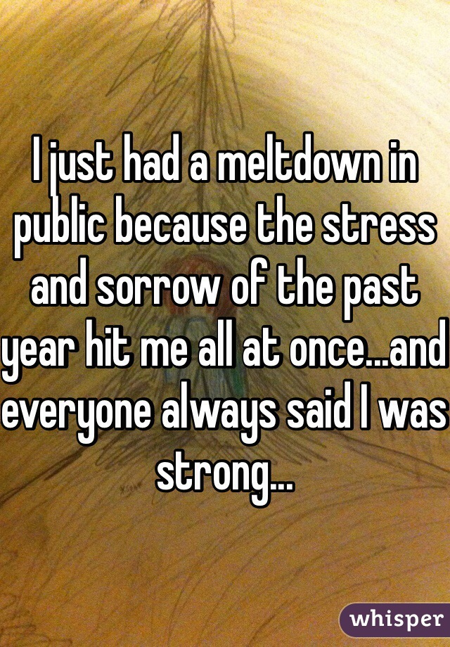 I just had a meltdown in public because the stress and sorrow of the past year hit me all at once...and everyone always said I was strong...