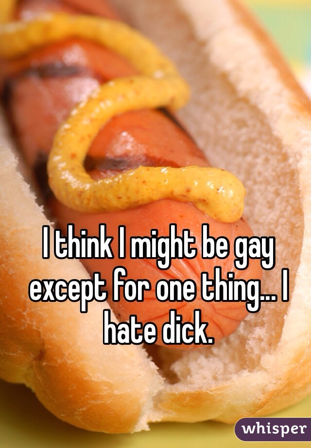 I think I might be gay except for one thing... I hate dick.