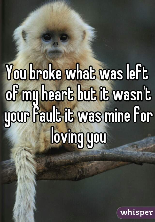 You broke what was left of my heart but it wasn't your fault it was mine for loving you