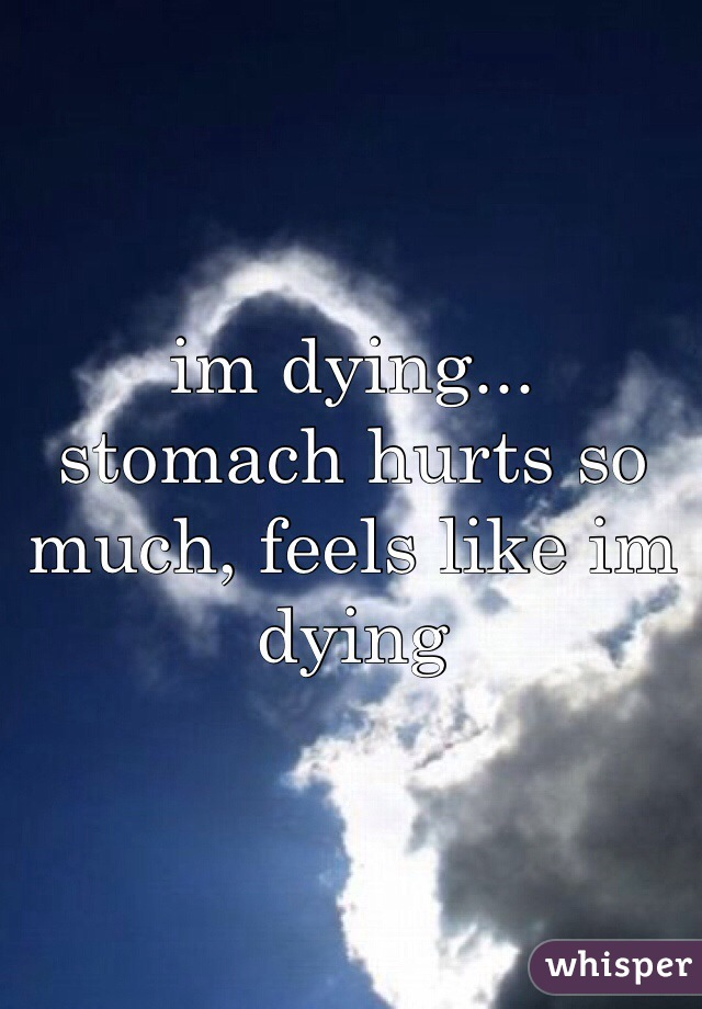 im dying...  stomach hurts so much, feels like im dying