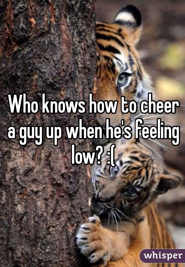 Who knows how to cheer a guy up when he's feeling low? :(