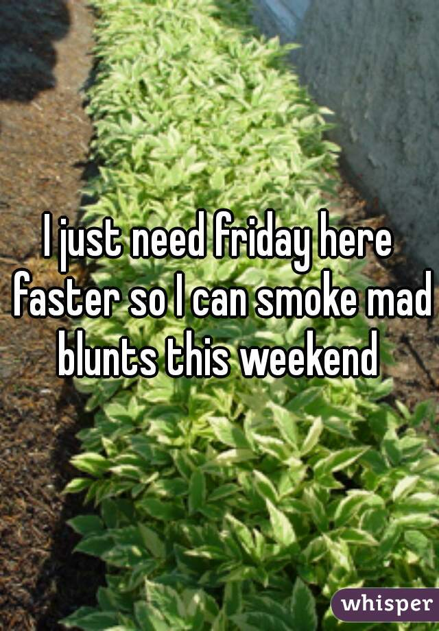 I just need friday here faster so I can smoke mad blunts this weekend