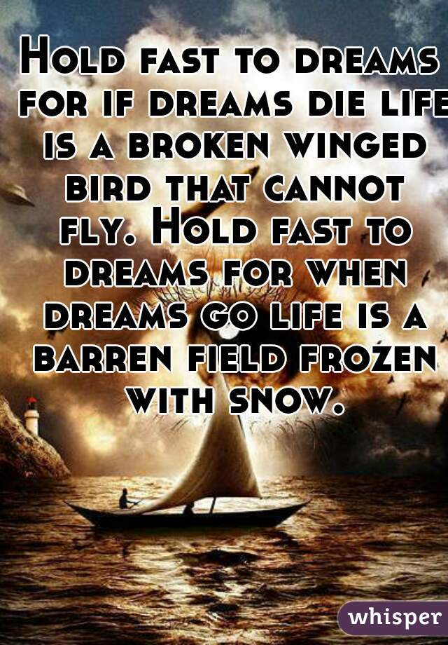 Hold fast to dreams for if dreams die life is a broken winged bird that cannot fly. Hold fast to dreams for when dreams go life is a barren field frozen with snow.