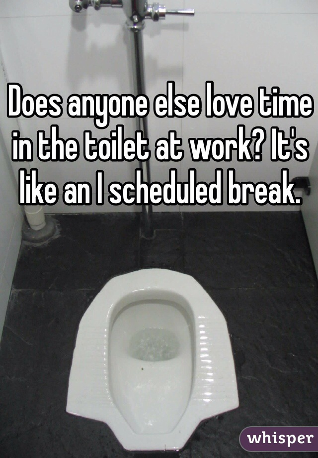 Does anyone else love time in the toilet at work? It's like an I scheduled break.