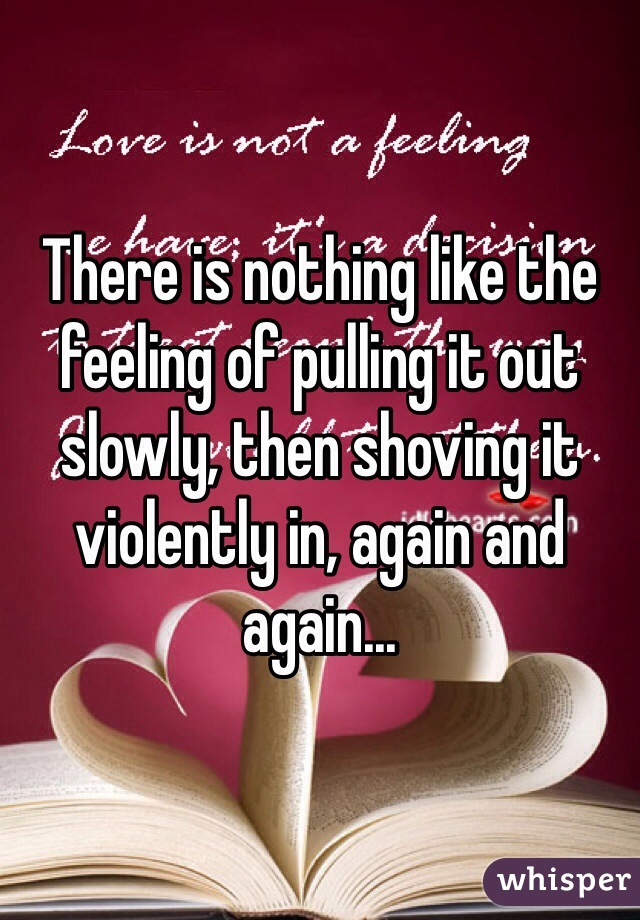 There is nothing like the feeling of pulling it out slowly, then shoving it violently in, again and again...