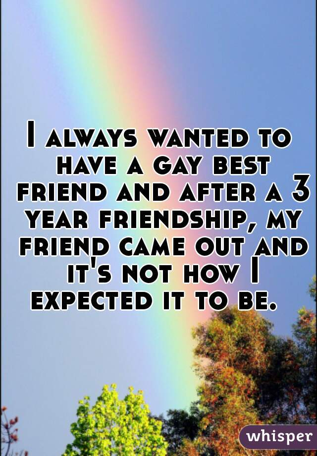 I always wanted to have a gay best friend and after a 3 year friendship, my friend came out and it's not how I expected it to be.